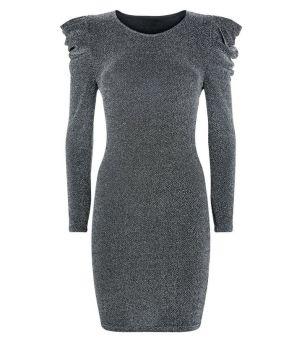 parisian---robe-moulante-argentée-à-paillettes-et-épaules-froncées