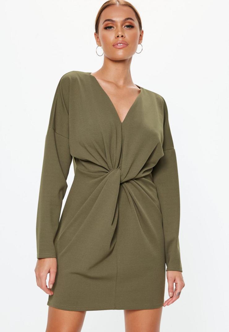 robe-courte--manches-longues-kaki-design-vrille